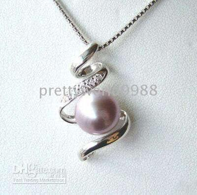 Wholesale Purple Pearl Pendant - AAA A+genuine Jewelry Natural pink purple Pearl Pendant Necklace 18""