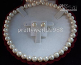 Wholesale White Akoya Cultured Pearl Necklace - AAA +genuine 8-9mm White Akoya Cultured Pearl Necklace Earring