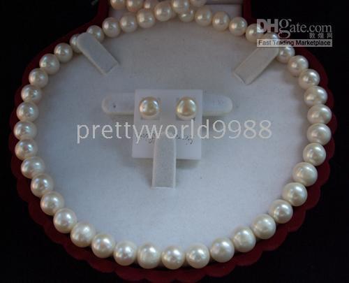 Echter 8-9mm weißer Akoya-Zuchtperlen-Halsketten-Ohrring