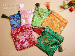 Wholesale Silk Favor Pouch - Fashion Square Silk Brocade Printed Birthday Party Favor Bags Chinese coin Tassel Gift Wrapp Pouches 10pcs lot mix color free shipping