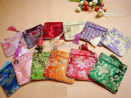 Wholesale Wholesale Jewelry Supply China - Tassel Small Zipper Silk Brocade Bag China Favor Bags Jewelry Gift Pouch Coin Purses Credit Card Holder 10pcs lot mix color Free shipping
