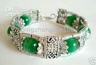 Wholesale Fancy tibet silver inlay green jade bracelet