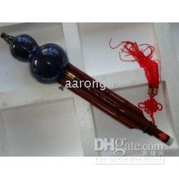Hulusi flute онлайн-Замечательный синий Китай традиционный музыкальный инструмент тыквы флейты - перегородчатые Хулуси