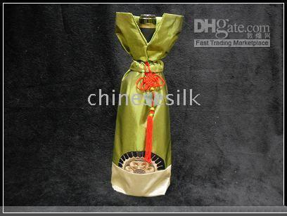 Wholesale Chinese Color Bags - Novelty Chinese knot Christmas Wine Bottle Decor Cover Bags Silk Bottle Packaging 10 pcs lot mix color