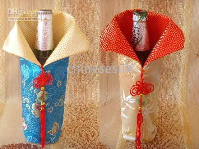 Wholesale Silk Chinese Wine Bottle Bags - Chinese knot Silk Brocade Bottle Decor Bags Pouch Ethnic Luxury Colorful Fabric Wine Bottle Clothes Dust Protective Cover Wholesale