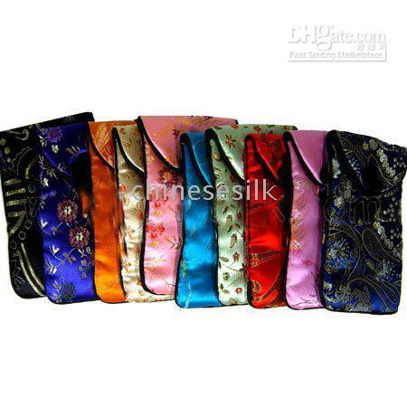 Wholesale Cheap Fashion Phone Cases - Silk Cell Phone Cover Mobile Bag Case Cheap Fashion Color Samsung Phone Pouch 30pcs mix Free