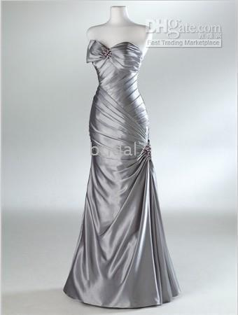 Wholesale Hot Sale Preferred - 2014 hot sale silver Brand New Fashion Lady's Preferred bride's floor length Evening Dresses WM006