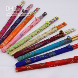 Wholesale Chinese Bamboo Chopsticks - Disposable Wedding Party 10 pair Chopsticks Sets with Chinese Silk Pouch