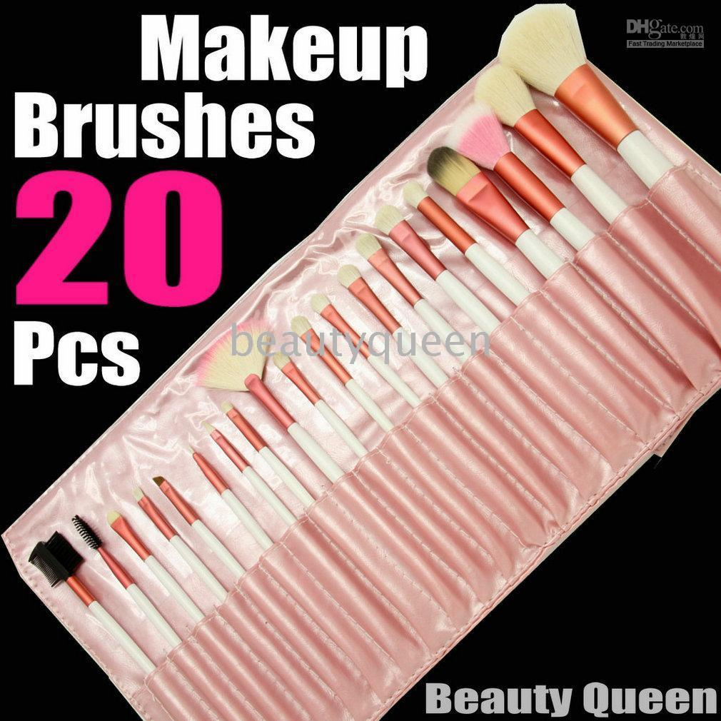 20 pcs PONY GOAT HAIR MINERAL PRO MAKEUP COSMETIC BRUSHES SET Pink Leather Pouch FREE SHIP