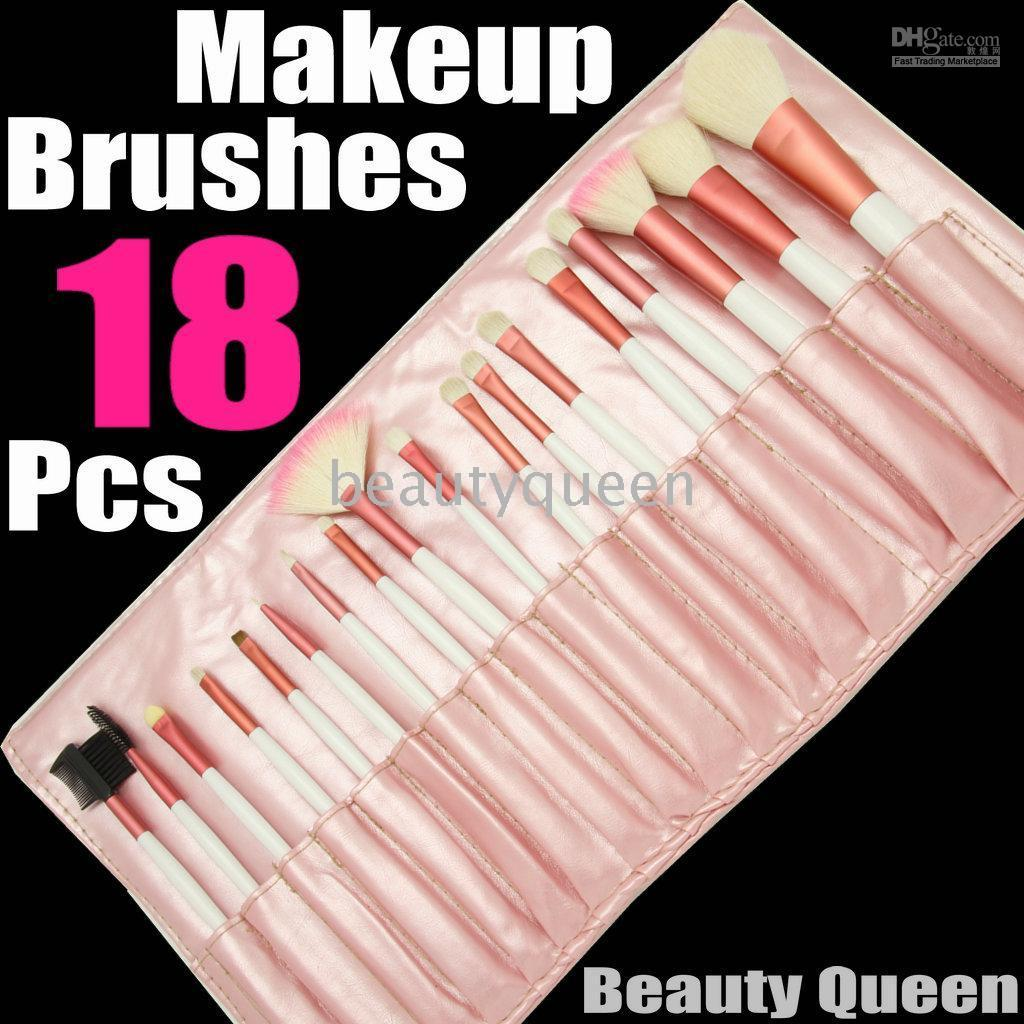 White Goat Hair Australia - Wholesale 18 pcs PONY GOAT HAIR MINERAL PRO MAKEUP COSMETIC BRUSHES SET Pink Leather Pouch FREE SHIP