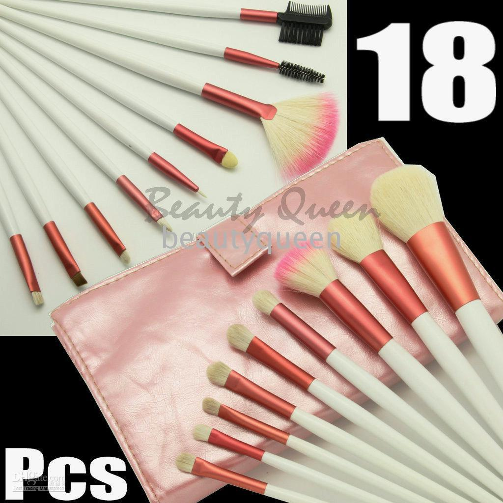 Wholesale Goat Pony Hair Makeup Brushes - Wholesale - 10sets lot 18 pcs PRO MAKEUP COSMETIC BRUSHES PINK SET PONY GOAT HAIR MINERAL FREE SHIP