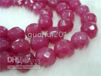 Wholesale Red Ruby Bead - 8mm Brazil Faceted Red Ruby Round Loose Beads 15''