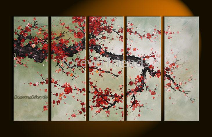 $enCountryForm.capitalKeyWord Canada - 5 Panels HUGE ASIAN FLORAL PLUM BLOSSOM ART,Pure Hand painted Landscape Art oil painting On High Quality Canvas For Wall Deco