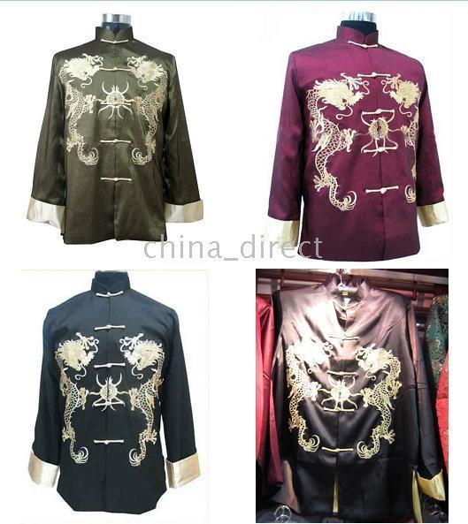 top popular Chinese Kungfu Rayon Silk Jackets,Tai Rayon silk outwear 5pcs lot 2021
