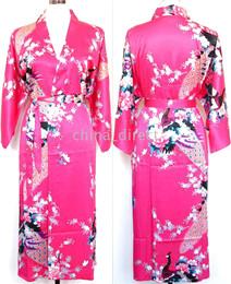 Wholesale Womens Sleepwear Shorts - Ladies womens Satin Pajama Lingerie Sleepwear Robe Kimono pjs 10pcs lot #3034