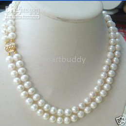 """Wholesale 14k Yellow Gold Chain 18 - AAAA+ 7-8MM DOUBLE STRAND AKOYA WHITE PEARL NECKLACE 17""""18"""""""