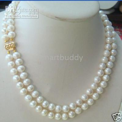 "7-8MM DOUBLE STRAND AKOYA WHITE PEARL NECKLACE 17""18"""