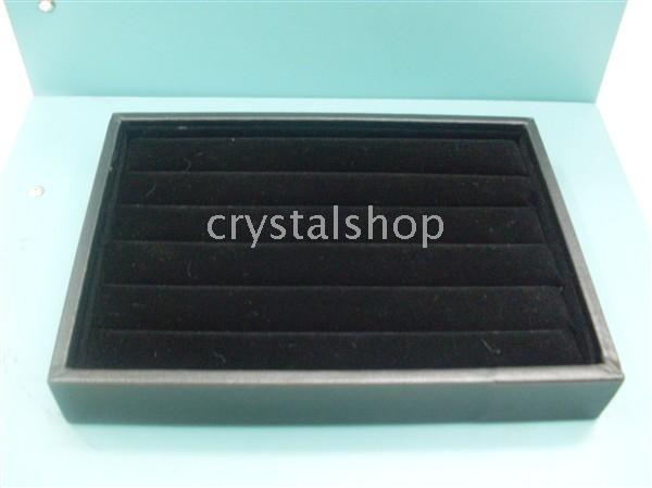Wholesale Leather Display Ring Tray - Wholesale Fee Shipping 4 BLACK RING JEWELRY DISPLAY CASE BOX TRAY SHOWCASE STAND SMALL