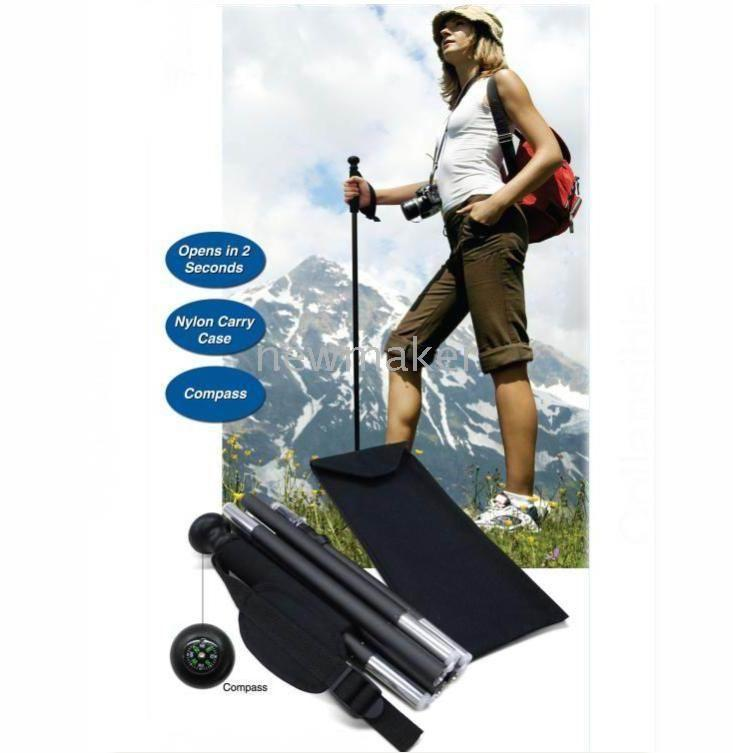 Wholesale Aluminium Collapsible Walking Stick six Section Nylon Pouch packing For Outdoor amp Sports