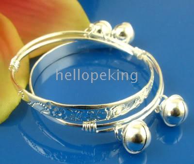 Wholesale Cheap Sterling Silver China - Wholesale cheap 925 sterling silver 2pc 1pair baby bracelet bangle