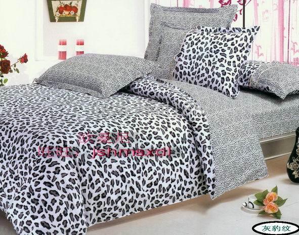 Ems Hot Selling Bed Set Bedding Sheet Bedspread Set Grey Leopard ...