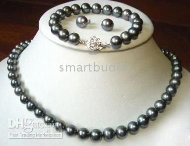 Wholesale Tahitian Black Pearls China - tahitian 8-9 mm black pearl necklace 18inches bracelet 7.5inches earring