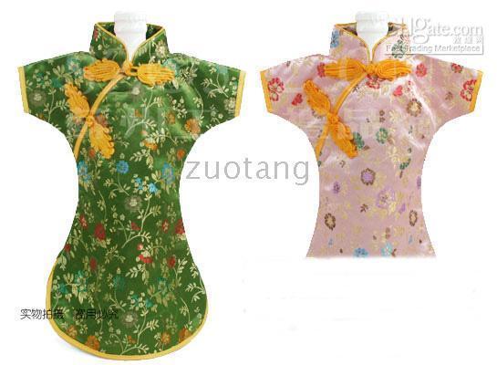 атласные столы оптовых-Китайский стиль шелк атласная одежда для бутылки вина платье сумка защитная крышка Главная партии украшения стола бутылки упаковки мешок 10 шт. / лот