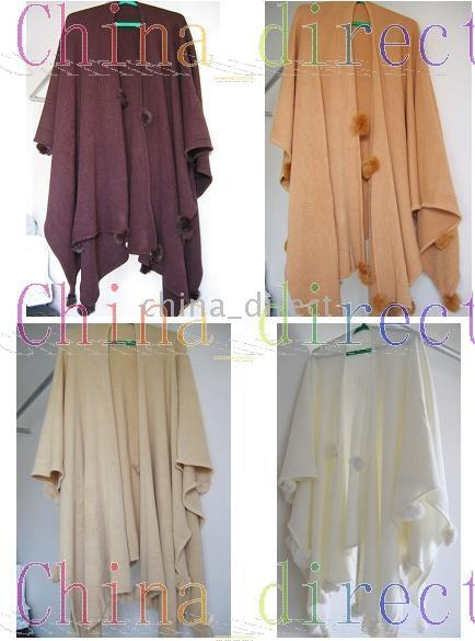 Rabbit fur ball fringed Scarves ponchos scarf shawl pashmina wraps shawls 5pcs/lot new