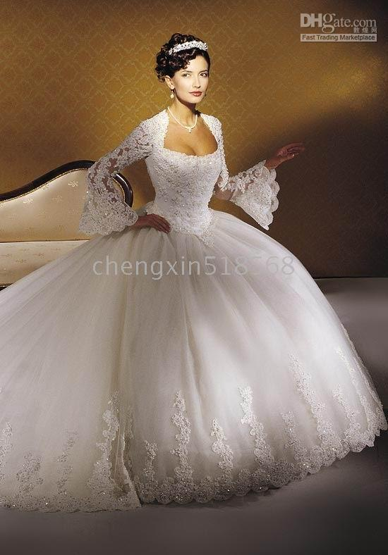 New Wedding Dresses Long Sleeve Gown Sizes 2 4 6 8 10 12 14 16 18 ...