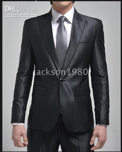 A Shiny Metal Button Black Suits Af 159 Groom Tuxedos Best Man ...