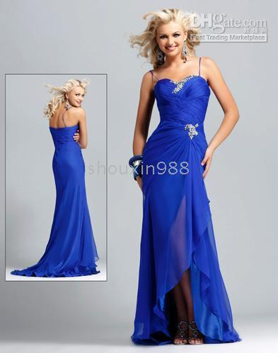 New Sexy Sapphire Chiffon Spaghetti Ball Gown Prom Dress Evening ...