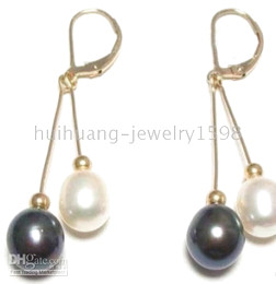 Wholesale Silver Fresh Water Pearls - REAL NATURAL FRESH WATER BLACK WHITE PEARL EARRING