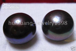 Wholesale Pink Real Pearls Earrings - 11-12 MM REAL NATURAL BLACK PEARL 925 SILVER SYUD EARRING