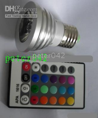 10pcs / lot 3W LED Focos de control remoto, lámpara LED de luces de colores escenario de la Copa!