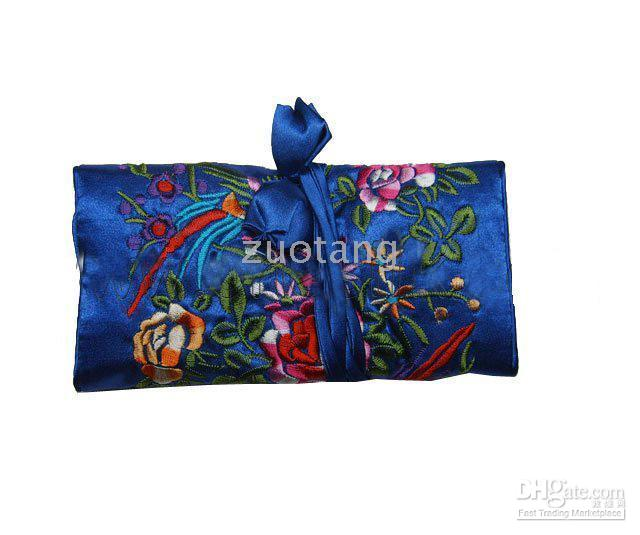 Wholesale Embroidery Earrings - Travel Bracelet Storage Bag Earring Pouch 10pcs Mix Color 9*6 inch Silk Embroidery Rope Zipper Roll