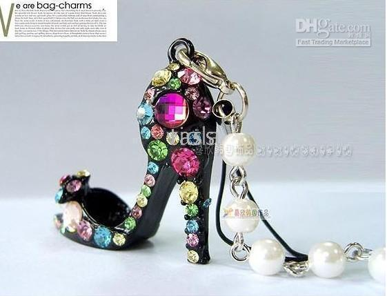 Wholesale Shoes Cellphone - Jewelery Black Enamel White High-heel Shoe Pendant Charm for Bag and Cellphone Cute Gift-100pcs lot