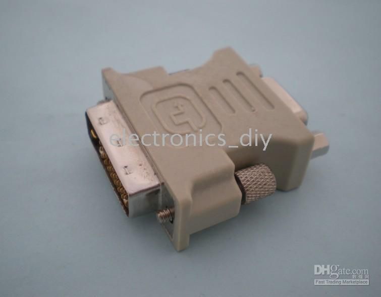 Connector for Male DVI-D Dual Link to Female SVGA VGA DB15 Free Ship 1 pcs per Lot 1 Day Process