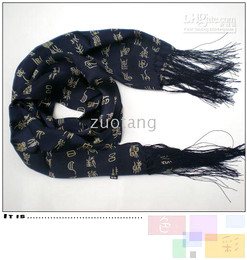 Wholesale Silk Scarf Wholesale China - Blue Long Mens 100% Silk Scarves Shawl Double Layer Womens Available China Calligraphy Scarf 30 pcs