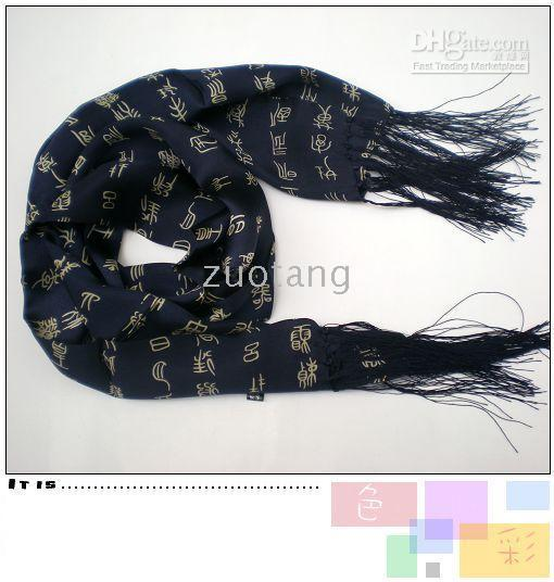 Wholesale China Shawls Wholesale - Blue Long Mens 100% Silk Scarves Shawl Double Layer Womens Available China Calligraphy Scarf 30 pcs