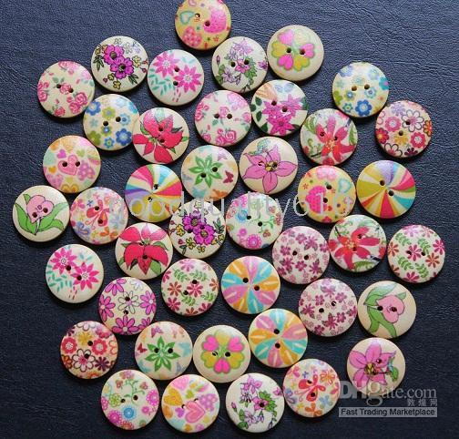 top popular 50pcs 18mm Assorted Pattern Wood Buttons Wiht 2 Hole For Sewing 2021