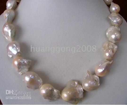 a16eddf5e New buy fine pearl jewelry Natural HUGE 20INCHES 22-25MM NATURAL SEA  BAROQUE WHITE PEARLS NECKLACE 14k