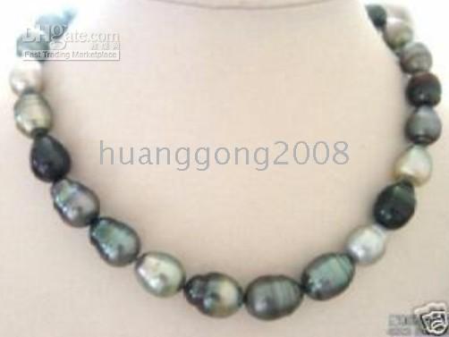 "Wholesale Tahitian Pearls China - Tahitian NATURAL COLOR PEARL NECKLACE 18"" 11-13MM huge"