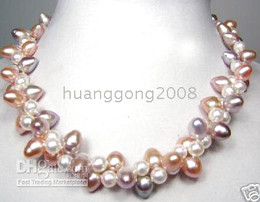 """Wholesale 9mm Sterling Silver Chain - Fine Pearl Jewelry 18""""3row 8-9mm NATURAL purple white pink pearls necklace 925silver"""