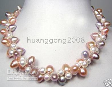 """Wholesale Pink Pearl Necklace 14k - Fine Pearl Jewelry 18""""3row 8-9mm NATURAL purple white pink pearls necklace 925silver"""