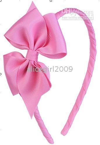 Wholesale Girls 4inch Bows Headband - Wholesale- Baby Girl Toddler 4inch -4.5inch ;Hair Bows grosgrain ribbon Headband 1#
