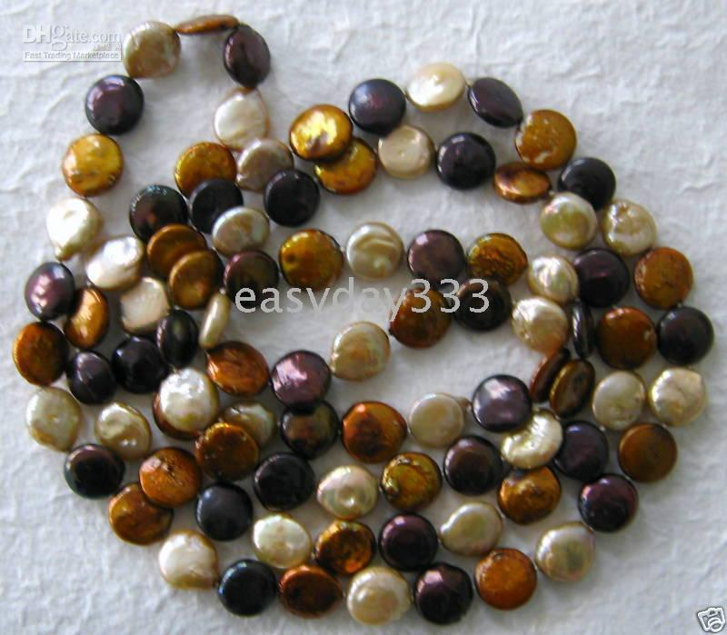 Genuine Natural Fine Pearls Jewelry 48 Designer Chocolate White Coin