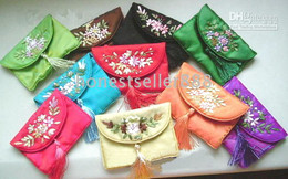 Wholesale Embroidered Silk Bags - 20PCS GORGEOUS Embroidered SILK COSMETIC BAGS & Free Shipping