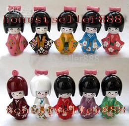 """Wholesale Wholesale Japanese Kokeshi Wooden Dolls - 10pc Oriental Japanese Kokeshi dolls wooden 3.5"""""""