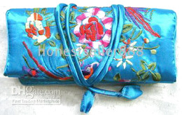 Wholesale Wholesale Silk Jewelry Roll - 36 EMBROIDERED BROCADE SILK JEWELRY ROLLS Pouches bags