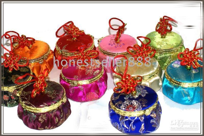 Wholesale Silk Box Jewelry Handmade - 10 PCS HANDMADE PATTERN SILK CHIC JEWELRY BOX Mirror